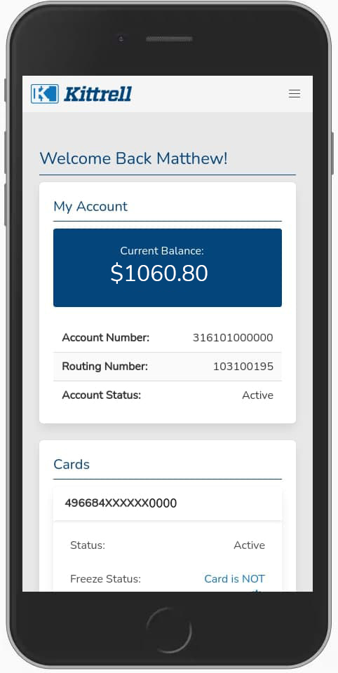 The Kittrell Paycard Member Site